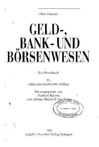 GELD-, BANK-UND BORSENWESEN