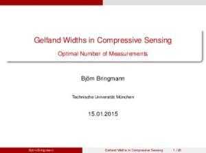 Gelfand Widths in Compressive Sensing