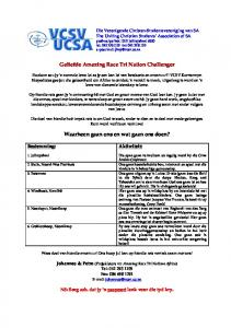 Geliefde Amazing Race Tri Nation Challenger. Waarheen gaan ons en wat gaan ons doen?
