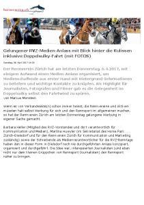 Gelungener RVZ-Medien-Anlass mit Blick hinter die Kulissen inklusive Doppelsulky-Fahrt (mit FOTOS)