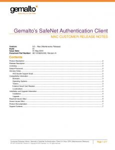 Gemalto s SafeNet Authentication Client