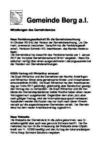 Gemeinde Berg a.i. Neue Webseite Die Webseite der Gemeinde ist in die Jahre gekommen, was Erscheinungsbild
