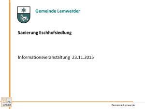 Gemeinde Lemwerder. Informationsveranstaltung