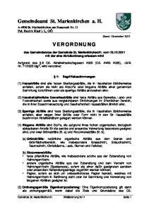 Gemeindeamt St. Marienkirchen a. H. V E R O R D N U N G