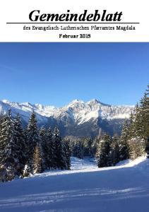 Gemeindeblatt. des Evangelisch-Lutherischen Pfarramtes Magdala Februar 2015