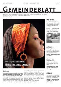 Gemeindeblatt. Fashion Night & Lifestyle. Dienstag, 9. September