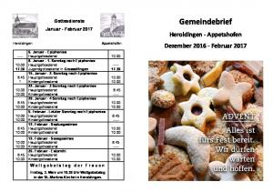 Gemeindebrief. Dezember Februar Gottesdienste Januar - Februar 2017 Heroldingen - Appetshofen. Weltgebetstag der Frauen
