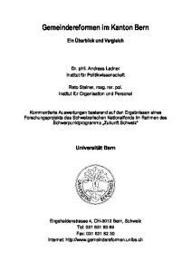 Gemeindereformen im Kanton Bern