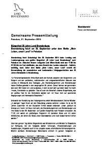 Gemeinsame Pressemitteilung Potsdam, 21. September 2015