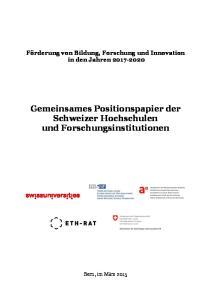 Gemeinsames Positionspapier der Schweizer Hochschulen und Forschungsinstitutionen