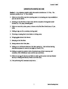 GEMINI STANDING RULES