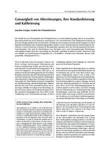 Genauigkeit von Alterslesungen, ihre Standardisierung und Kalibrierung