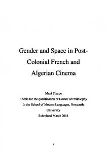 Gender and Space in Post- Colonial French and Algerian Cinema
