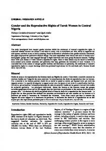 Gender and the Reproductive Rights of Tarok Women in Central