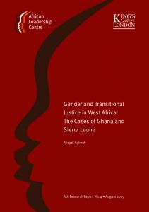 Gender and Transitional Justice in West Africa: The Cases of Ghana and Sierra Leone. Abigail Gyimah