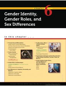 Gender Identity, Gender Roles, and Sex Differences