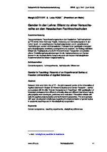 Gender in der Lehre: Bilanz zu einer Versuchsreihe an den Hessischen Fachhochschulen