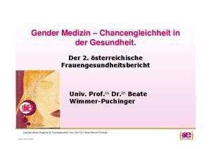 Gender Medizin Chancengleichheit in der Gesundheit
