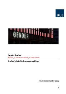 Gender Studies Kultur, Kommunikation, Gesellschaft Studieninfo & Vorlesungsverzeichnis