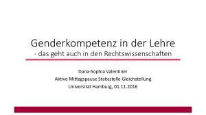 Genderkompetenz in der Lehre - das geht auch in den Rechtswissenschaften