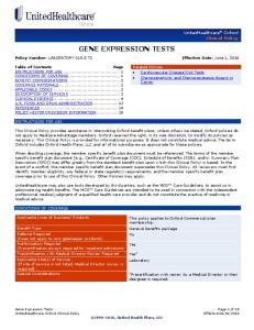 GENE EXPRESSION TESTS