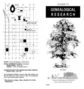 GENEALOGICAL R E S E A R C H
