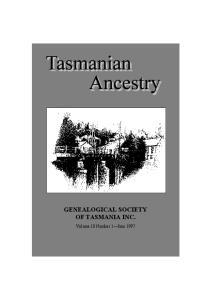 GENEALOGICAL SOCIETY OF TASMANIA INC
