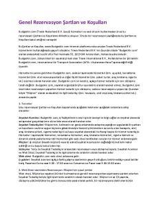 Genel Rezervasyon Şartları ve Koşulları