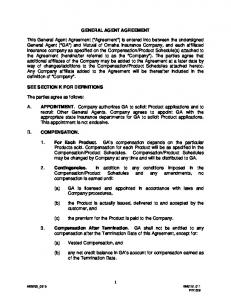 GENERAL AGENT AGREEMENT