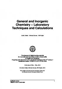 General and Inorganic Chemistry Laboratory Techniques and Calculations