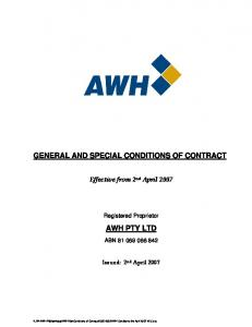 GENERAL AND SPECIAL CONDITIONS OF CONTRACT