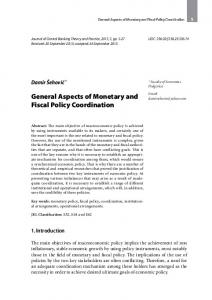 General Aspects of Monetary and Fiscal Policy Coordination