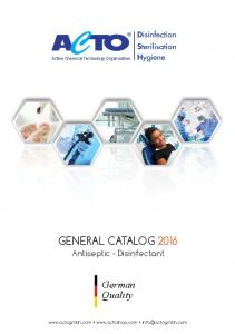 GENERAL CATALOG 2016 Antiseptic - Disinfectant