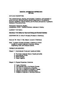 GENERAL CHEMISTRY II SPRING 2013 (CH 202)