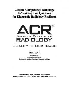 General Competency Radiology In-Training Test Questions for Diagnostic Radiology Residents