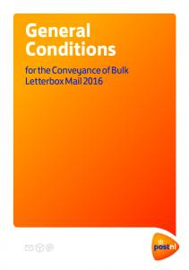 General Conditions. for the Conveyance of Bulk Letterbox Mail 2016