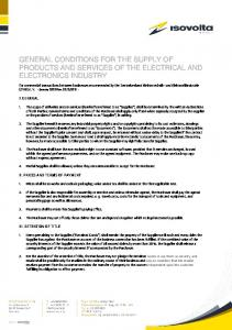GENERAL CONDITIONS FOR THE SUPPLY OF PRODUCTS AND SERVICES OF THE ELECTRICAL AND ELECTRONICS INDUSTRY