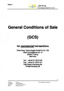 General Conditions of Sale (GCS)