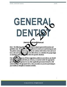 GENERAL DENTIST. Dental Assistant Manual