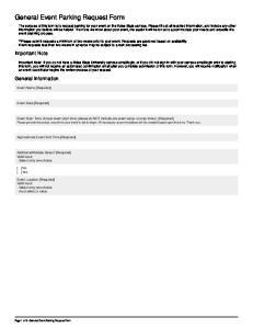General Event Parking Request Form