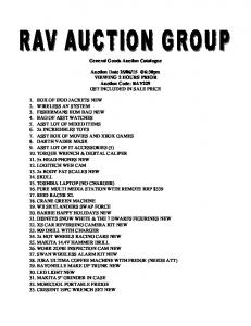 General Goods Auction Catalogue. Auction Date VIEWING 2 HOURS PRIOR Auction Code: RAV229 GST INCLUDED IN SALE PRICE
