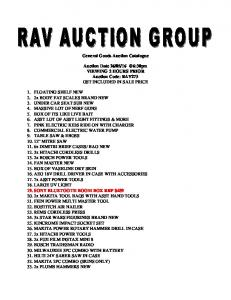 General Goods Auction Catalogue. Auction Date VIEWING 2 HOURS PRIOR Auction Code: RAV273 GST INCLUDED IN SALE PRICE