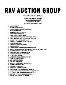 General Goods Auction Catalogue. Auction Date VIEWING 2 HOURS PRIOR Auction Code: RAV237 GST INCLUDED IN SALE PRICE