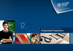 General Information & Admission Requirements for Postgraduate Programmes