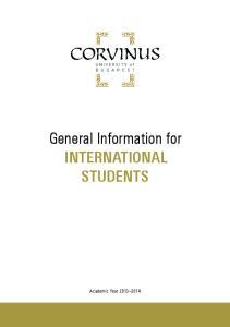 General Information for INTERNATIONAL STUDENTS