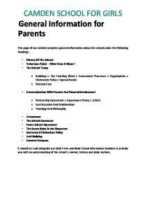 General Information for Parents