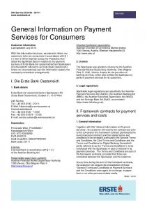 General Information on Payment Services for Consumers