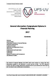General Information: Postgraduate Diploma in Financial Planning