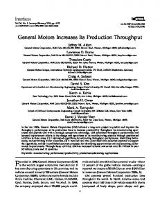 General Motors Increases Its Production Throughput