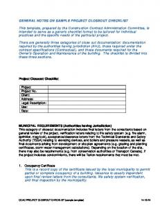 GENERAL NOTES ON SAMPLE PROJECT CLOSEOUT CHECKLIST